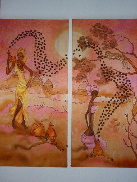 Silk painting Africa. Diptych painting on by batikelenakotova