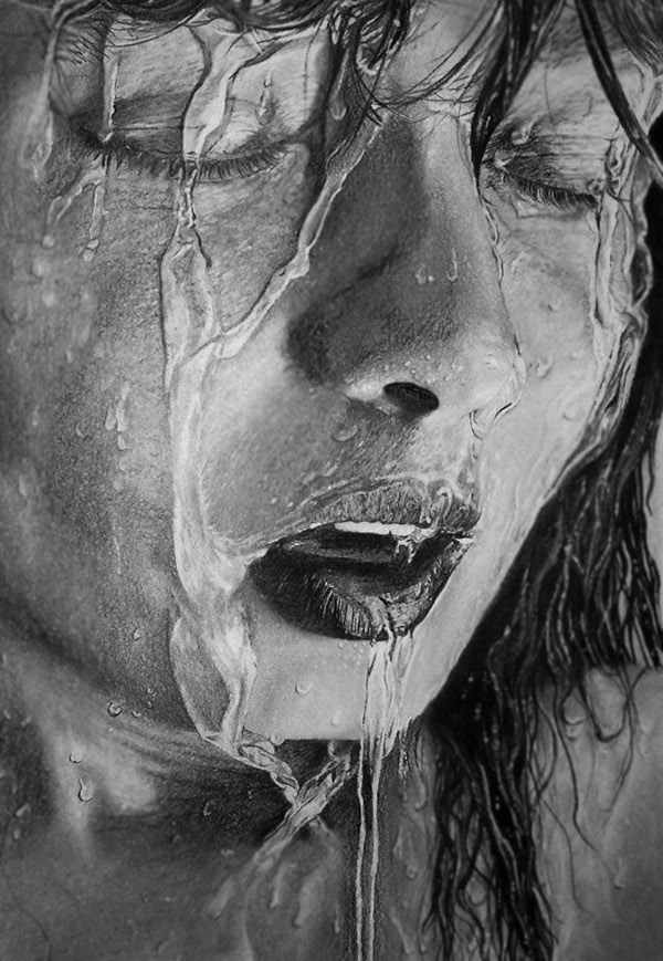 Water wishing hyperrealistic graphite pencil drawing by jacqui belcher