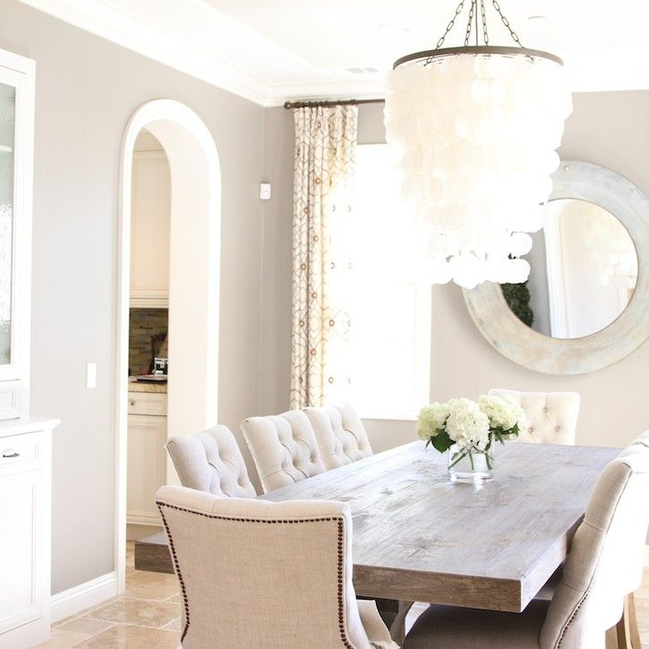 Love The Capiz Chandelier Rustic Dining Table With Pretty Chairs