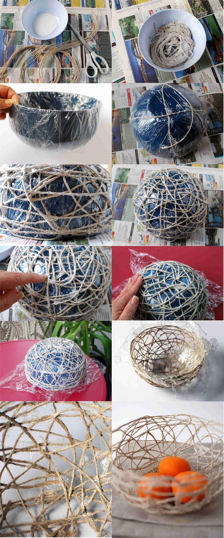 Diy Craft Projects DIY Stunning String Bowl. Equipment used: Fabric stiffener, string, cling film, scissors, bowls.