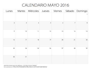 Festividades Mayo 2016 con ideas para celebrar: Descarga gratis para uso personal