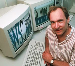 (8) 1990: Test-driving the quasi-Internet. The first Web page, on the first Web server, using the first Web browser, got its first hit when British software consultant Tim Berners-Lee (right) tried out his new system for linking computers.