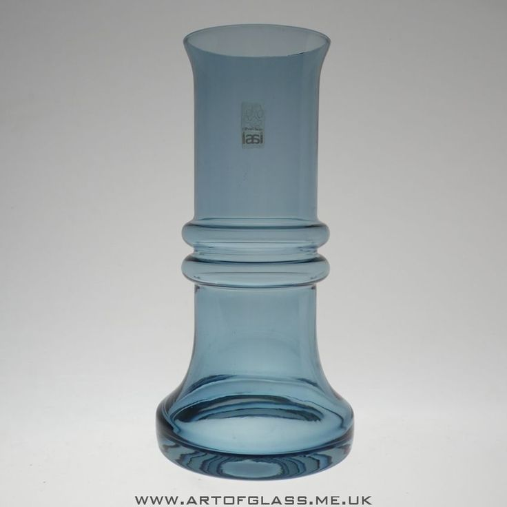 Riihimaki steel blue glass vase by Tamara Aladin
