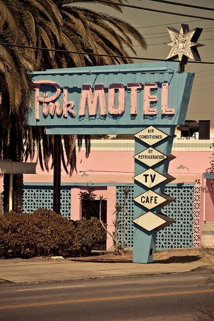 Pink Motel Built in 1946. Still used as a motel, and also as a frequent spot for film and television shoots. 9457 San Fernando Rd., Sun Valley CA.