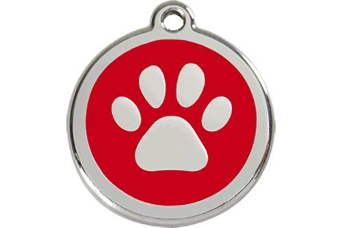 Red Dingo Paw Print Enamel Dog Tag Red  Medium *** You can get more details by clicking on the image.