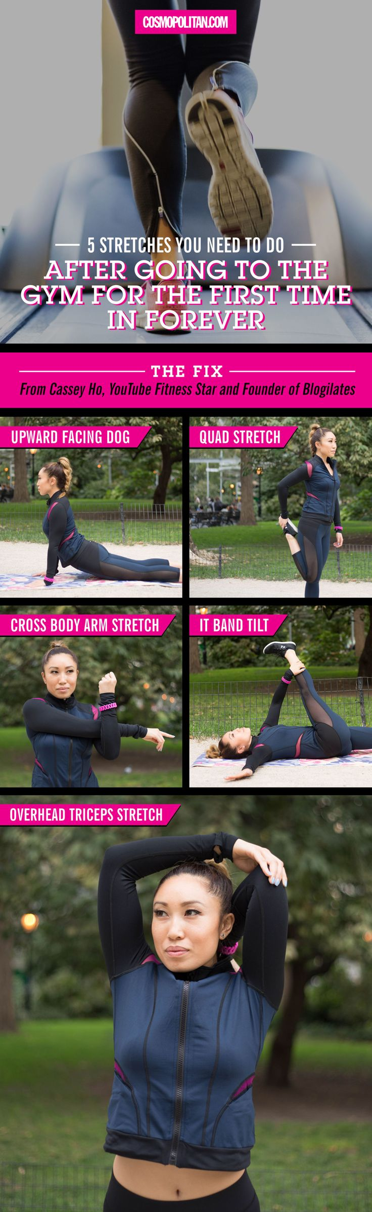 AFTER GYM STRETCHES: When everything aches because you haven't worked out in FOREVER, use these simple stretches from YouTube fitness star, Cassey Ho. Pin this graphic and use it next time you need a quick stretch! Find all the details and expert advice here.