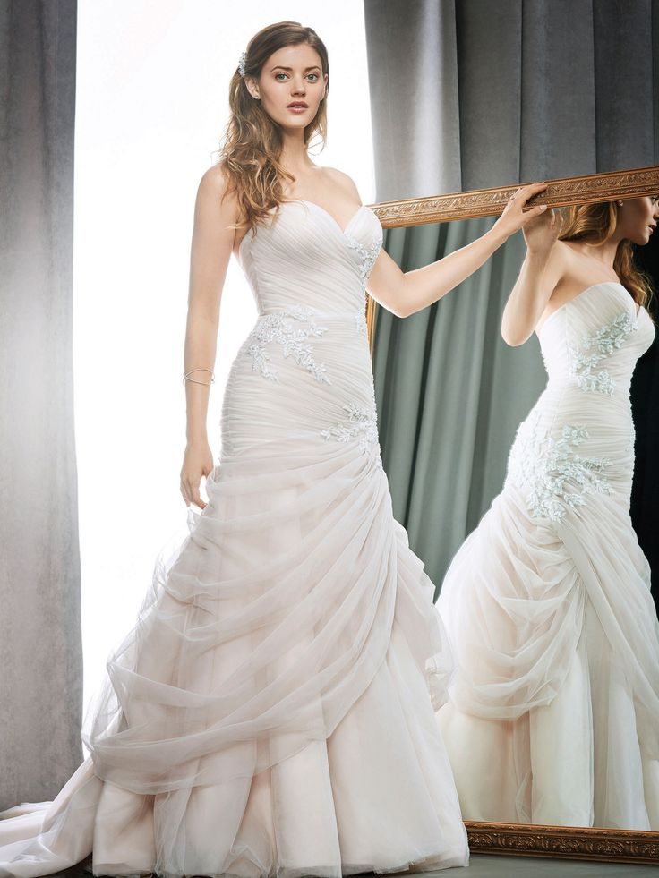 Cute Kenneth Winston Style glamorous wedding dress with crystal accents and assymetrical ruching skirt