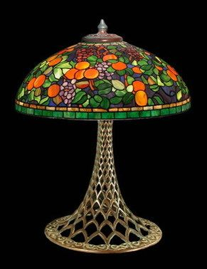 Fruit motif stained glass table lamp