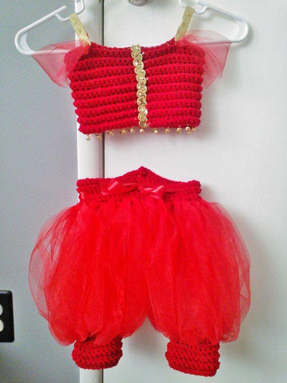 Princess Jasmine Red Crochet Tutu Dress Costume on Etsy, $47.59