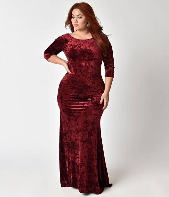 06f3b690149 Spoil yourself with this curve hugging plus size maxi dress! Crafted in  ultra soft crushed velvet and bathed in burgundy