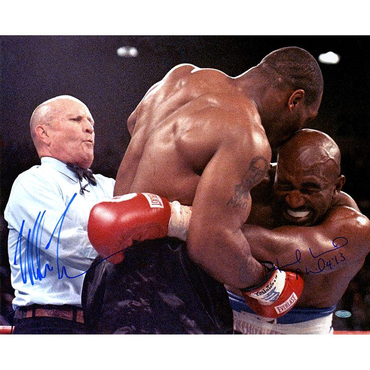 Mike Tyson & Evander Holyfield Dual Signed Biting Holyfield Ear 16x20 Photo
