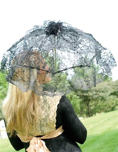 Black Lace Parasol from Victorian Trading Co. Silk ribbons, knotted rosette and ruffled flounce.