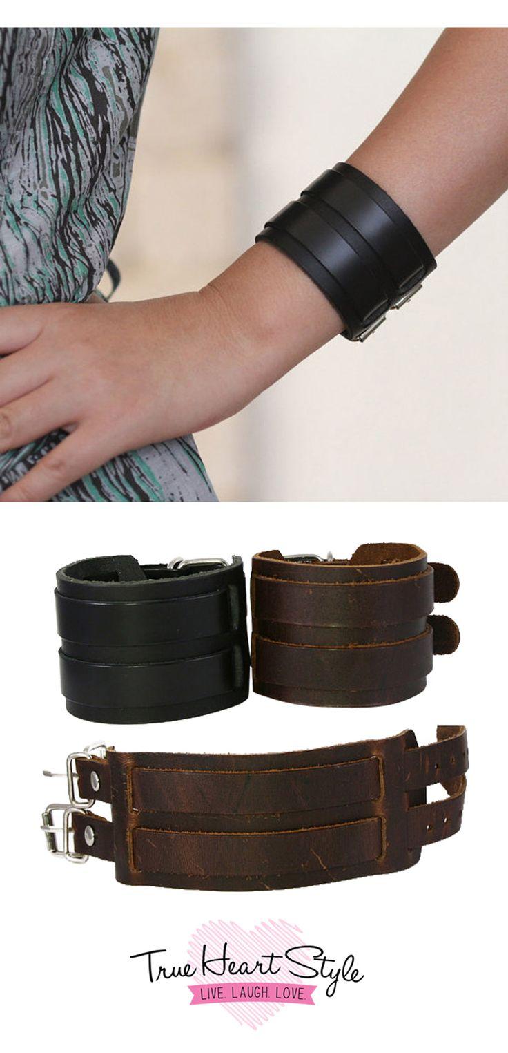 Best Seller! - Chunky Leather Cuff Bracelet, Double Metal Belt Buckles