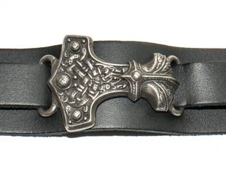 Thunderhammer - skórzana, wikińska bransoleta z młotem Thora • Onegdaj