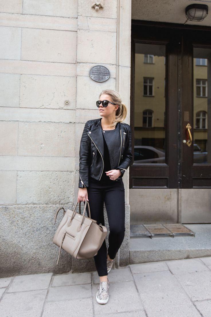 leather jacket, shoes / H&M bag, sunglasses / Celine : P.S. I love fashion by Linda Juhola