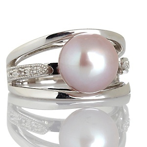 New!!!  9.5-10mm Cultured Freshwater Pearl and White Topaz Sterling Silver Ring at HSN.com.