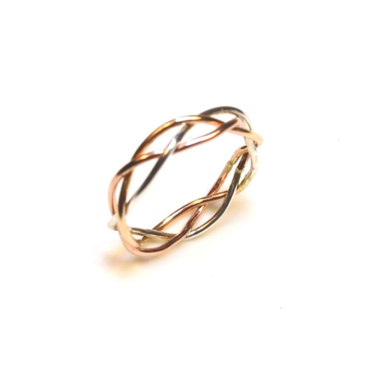14K Gold Tri-Color Braided Ring - Unique Engagement Ring Wedding Band