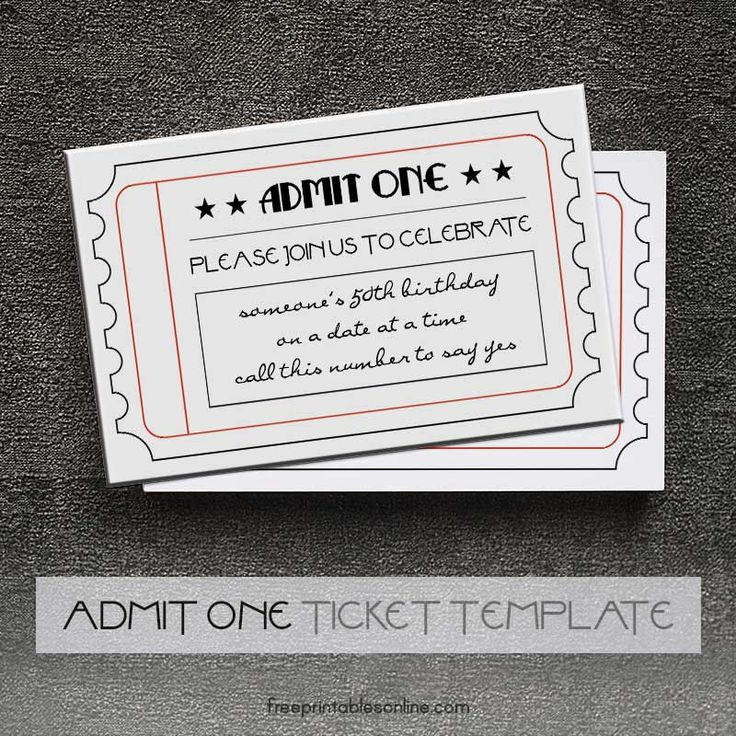 Black and White Printable Admit One Tickets (Free Printables - admit one ticket template