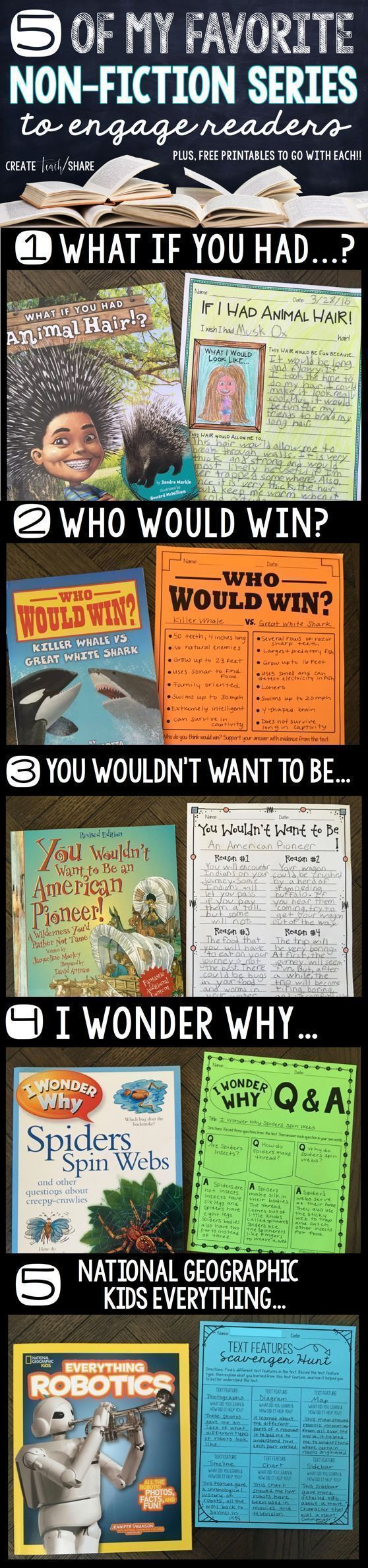 5 of My Favorite Non-Fiction Series to Engage Readers. FREEBIES to go with each book series. Perfect for elementary and upper grades.