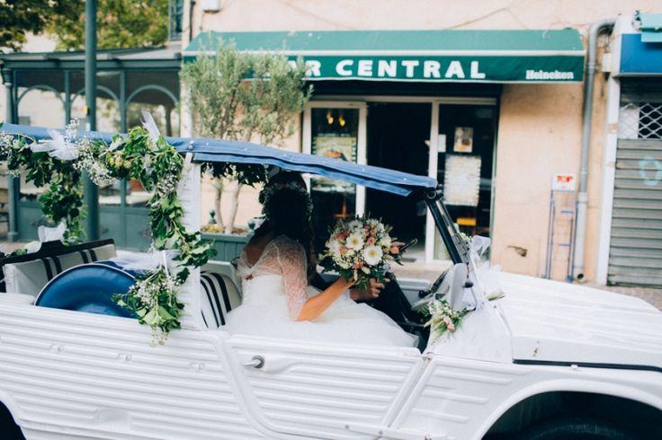 #Mehari #Citroen blanche décorée pour un #mariage