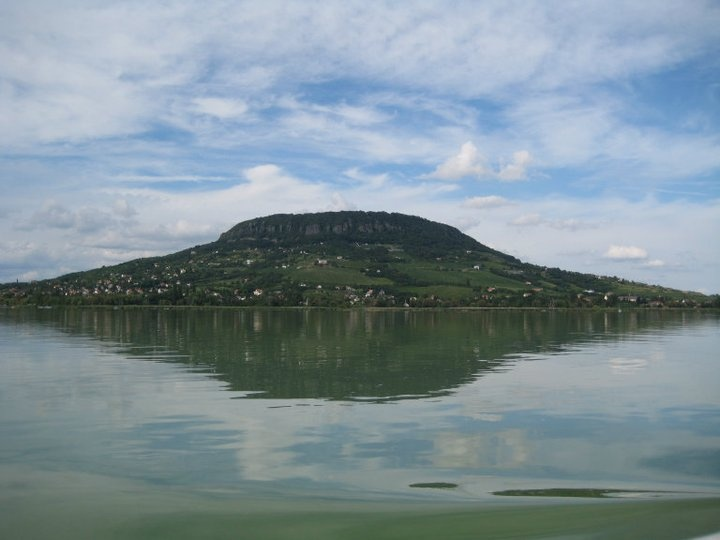 Badascony-hegy, seen from a ferry trip on Lake Balaton, Hungary