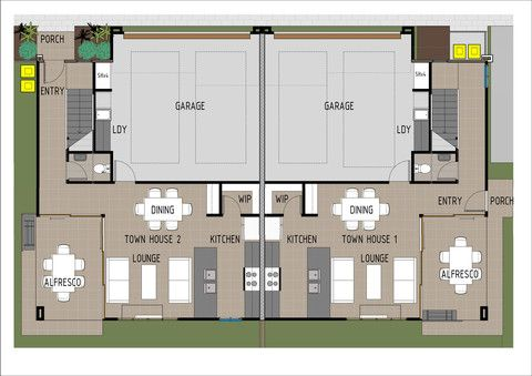 Duplex D3001 - Ground Floor Plan.  This duplex design is for two completely separate townhouses, ideal for developers or dual family/friend living
