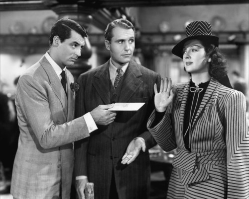 Cary Grant, Ralph Bellamy, Rosalind Russell. His Girl Friday 1940.  Great Howard Hawks dialogue.  One of my all time favorite films!