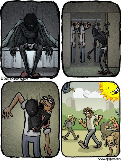 Es kann sein, dass Du sie versteckst, wenn Du in die Welt hinaus trittst.   18 Comics, die Dir zeigen, wie sich Depressionen anfühlen