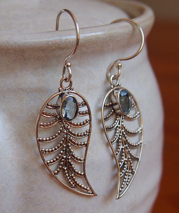 Sterling silver blue topaz leaf earrings