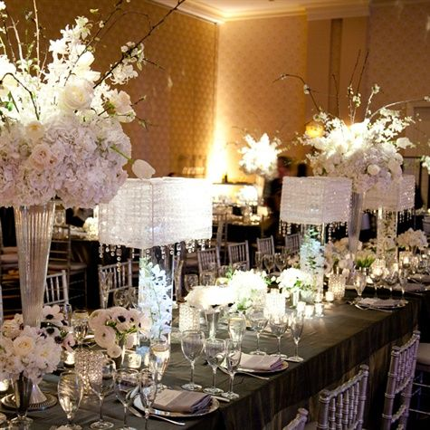 Elegant white wedding table by victoria clausen for Elegant table centerpieces