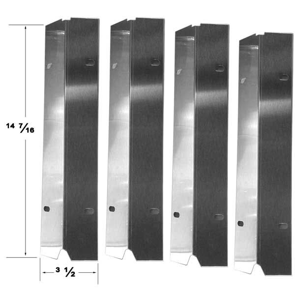 4 PACK STAINLESS STEEL HEAT SHIELD MASTER COOK, SHINERICH, TERA GEAR, OUTDOOR GOURMET GAS GRILL MODELS Fits Compatible Master Cook Models : SRGG30001B
