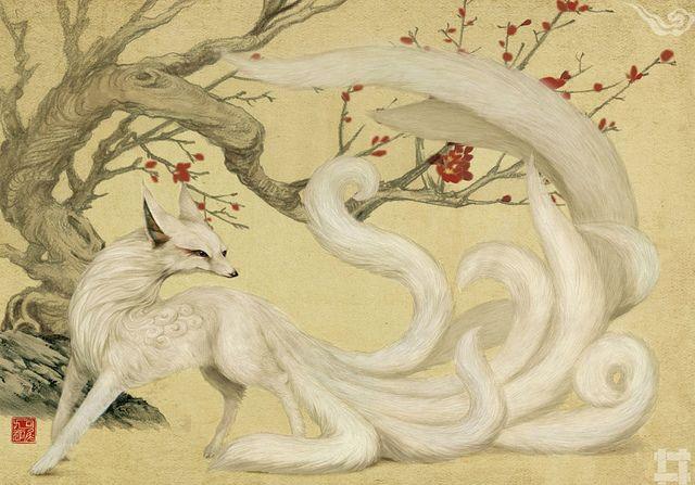 Chinese Nine-Tailed Fox. Kyubi no Kitsune / White Nine-Tailed Fox (Japanese Art)