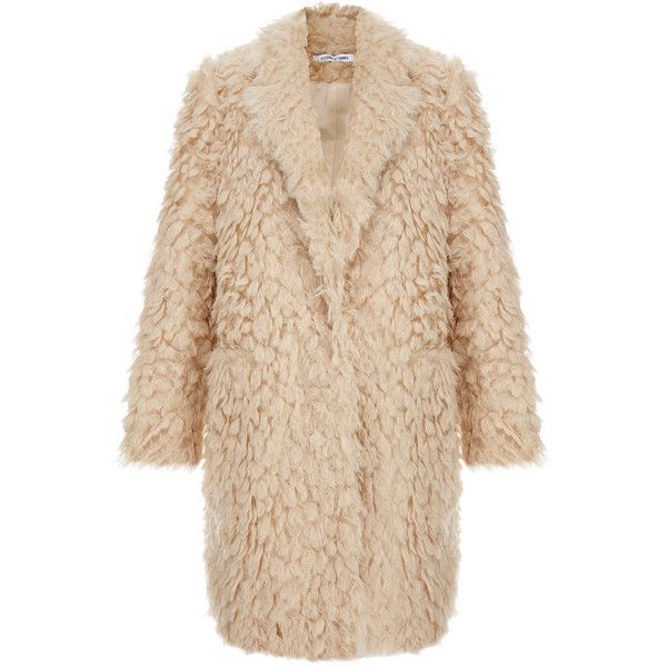 Elizabeth And James Iris Shaggy Faux Fur Boyfriend Coat (£237) ❤ liked on Polyvore featuring outerwear, coats, jackets, coats & jackets, casacos, neutrals, oversized boyfriend coat, elizabeth and james, faux fur coats and beige coat