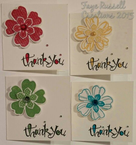 Stampin Up Sassy Salutations, Flower Shop & Petite Petals. 3 x 3 handmade thank you cards.