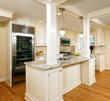 Alexandria Timeless Kitchen Addition traditional kitchen Columns with  storage under bar