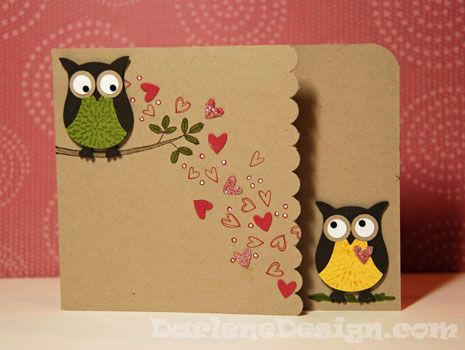 "8/11/2010; Darlene at ""Darlene Design"" website; more of those wonderful owls and a great video tutorial!!Owls Cards, Su Owls, Owl Punch, Cute Cards, Cards Ideas, Owls Punch, Valentine Cards, Stampin Up, Crafts"