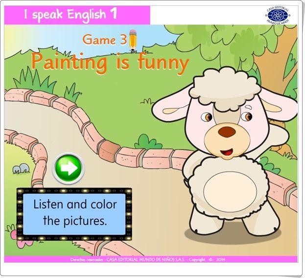 """""""Painting is funny"""", juego de """"I speak English 1"""", de Casa Editorial Mundo de Niños S.A.S., está dedicado a la familiarización oral y escrita con el vocabulario básico en relación con los colores básicos en inglés."""