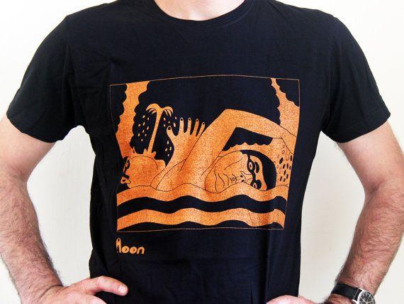 People in water - Men's t-Shirt, Orange  on black T-shirt - M/L/XL - Shirt  -Fantasy - Funny t shirt- Birthday Gift - Illustrated