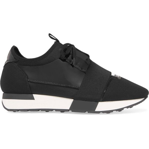 Balenciaga Race Runner patent-leather, mesh and neoprene sneakers (10,905 EGP) ❤ liked on Polyvore featuring shoes, sneakers, black sneakers, patent leather sneakers, black low top sneakers, black shoes and balenciaga trainers