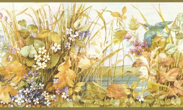 Bird Butterfly Wildflower Leaf Floral Wallpaper Border 255b06237 Floral Wallpaper Border Wallpaper Wallpaper Border