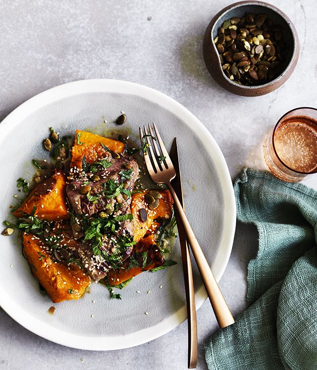 Backstrap, or eye of loin, is a lovely lean cut of meat, while anchovies and mint are always perfect partners with lamb. Just add pumpkin for an ideal autumn meal.