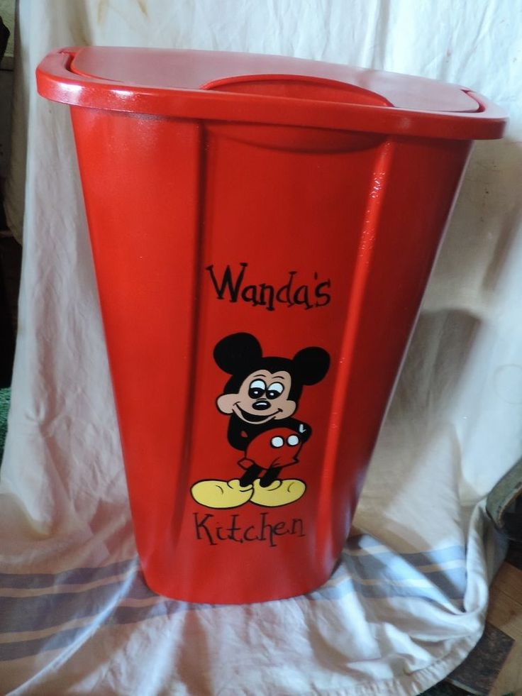Lovely Mickey Mouse Kitchen Trash/garbage Can(red) PERSONALIZED FREE!