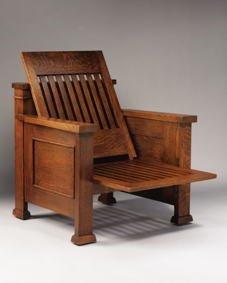 FRANK LLOYD WRIGHT   An Oak Reclining Armchair, designed for the William E. Martin House, Oak Park, Illinois, circa 1902