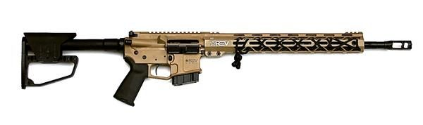 "Through our partnership with BWS, LLC, REV Arms is now able to offer complete rifle builds to our customers. After checkout, a BWS representative will follow up with an email and phone call to get the details of the FFL you would like your Rifle transferred through.     -Cerakote REV Grey or REV Tan (Tan Shown) -18"" Black Nitride 1:8 twist  -RAL2 15.375""  M-LOK Rail -Hired Gun Muzzle Brake -Billet Lower Receiver -Royal Arms Fully Adjustable Stock -Timney 3lb. Single Stage Trigger…"