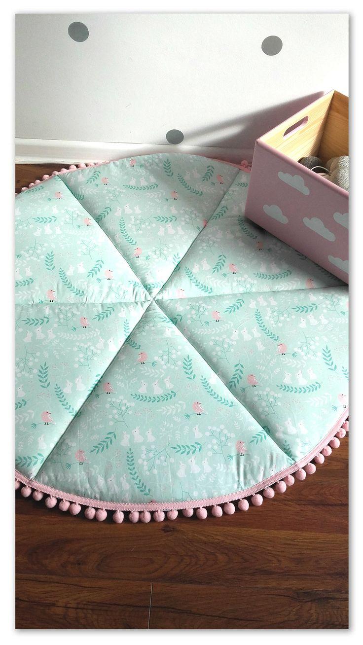 Baby Play Mat, Round Play Mat, Nursery Decor, Padded Baby Mat, Mint Baby Rug, Stars Floor Rug, Padded Play Mat, Rabbits baby Rug