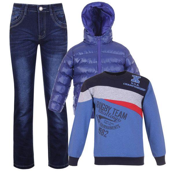 Модный и практичный образ для мальчиков - джинсы, толстовка и дутая куртка.