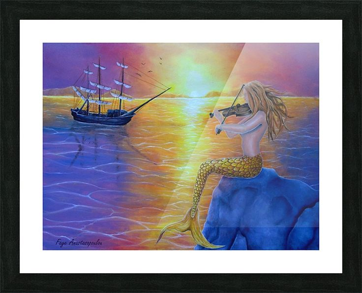 Framed, Art Print, meramaid,painting,ocean,scene,merpeople,seascape, sunset, sitting, playing, violin, music, fiddle, melody, marine, nautical, ship, sailboat, feminine, nude,  atmospheric, water, legendary, mythological, mythical, magical, aquatic, creature,fish, on rock, summer, sunlight, fantasy, imaginary, vivid, purple, colorful, beautiful, cool,contemporary, realism, figurative, fine, oil, wall, art, images, home, office, decor, artwork,items,ideas,for sale,pictorem