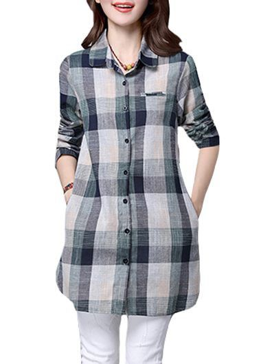 Long Sleeve Turndown Collar Button Closure Plaid Shirt on sale only US$24.95 now, buy cheap Long Sleeve Turndown Collar Button Closure Plaid Shirt at lulugal.com