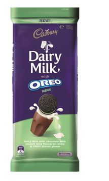 A box of 15 blocks of Cadbury Dairy Milk Oreo Mint 180g chocolate.