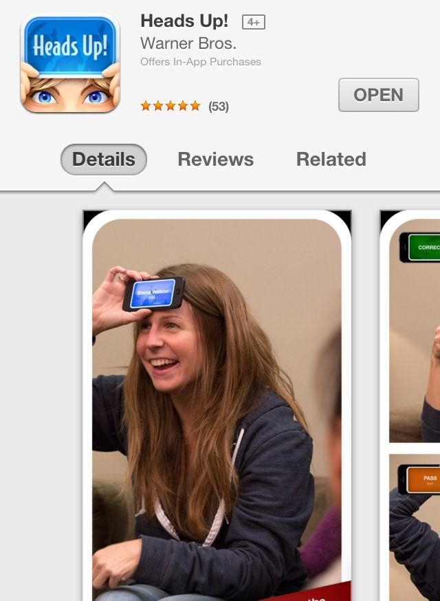Ellen's heads up app! Didn't think it would be THAT much fun, but it totally was! a great night in with my girls & totally addictive & hilarious watching the video clip after every game!! Lol